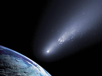 An artist's rendering of a comet cluster