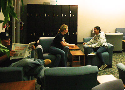 students sitting in transfer center