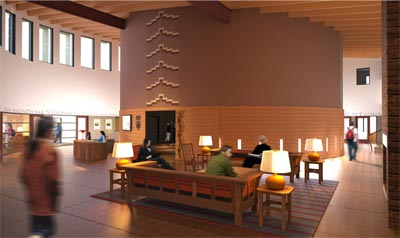 Interior rendering of the Native American Cultural Center