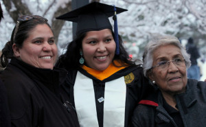 Student and family at commencement