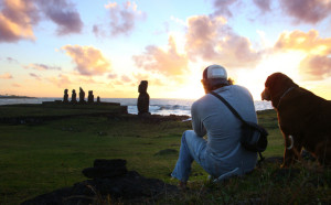 Britton Shepardson on Easter Island.