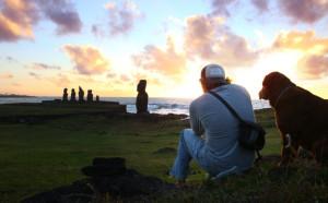 Britton Shepardson on Easter Island.