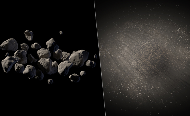 Artist's conception of a rubble-pile asteroid and a dust cloud asteroid.