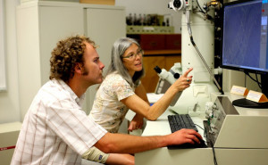 Brent Nelson and Kiisa Nishikawa in the lab.