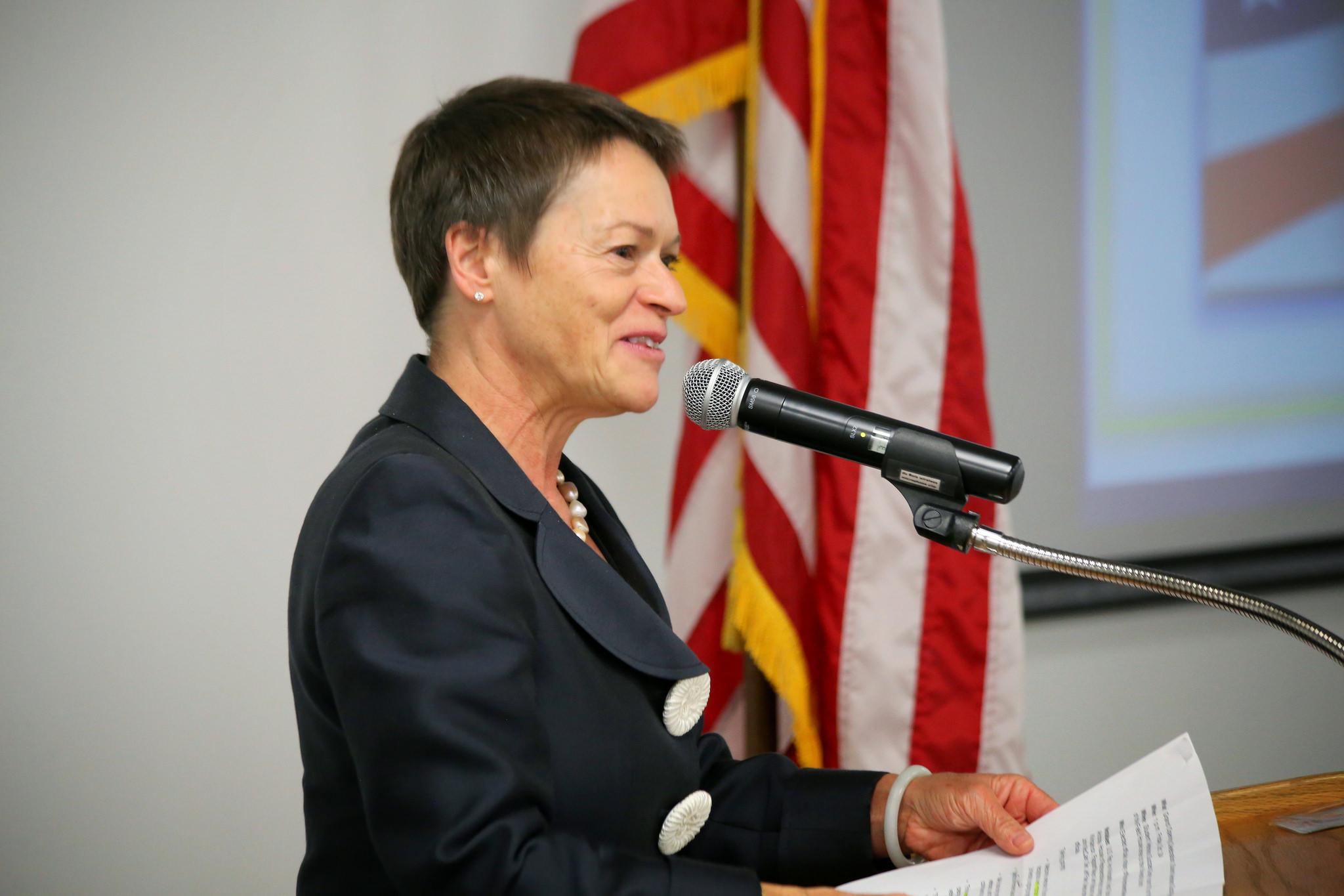 NAU President Rita Cheng speaks at the opening