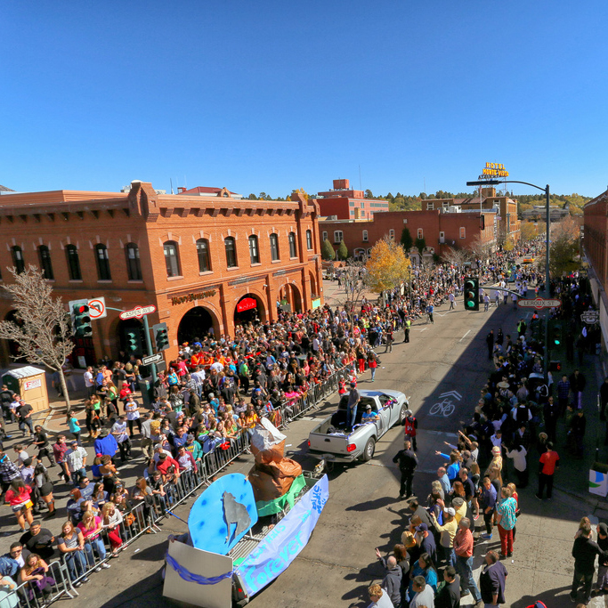 Homecoming parade float view from above