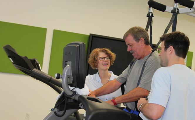 Stroke patient on treadmill