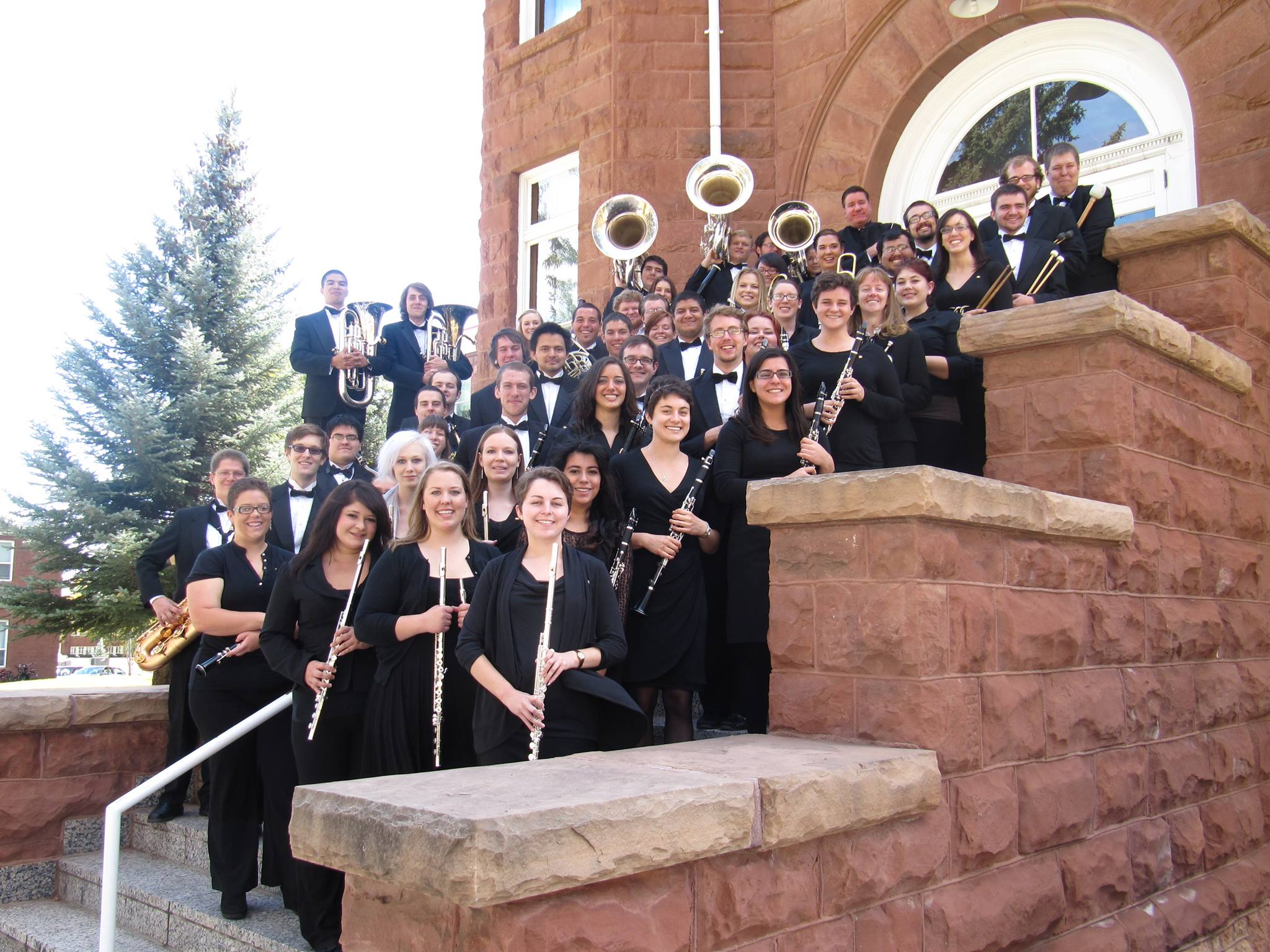 NAU Wind Symphony on the stairs of Old Main