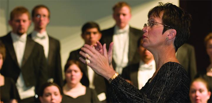 A choir rehearses