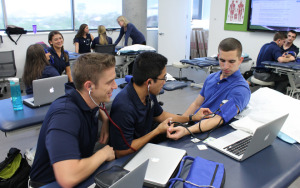 physical therapy students in lab