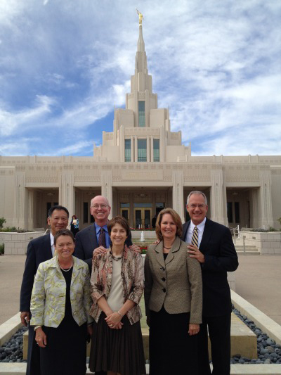 President Rita Cheng in front of the new LDS temple