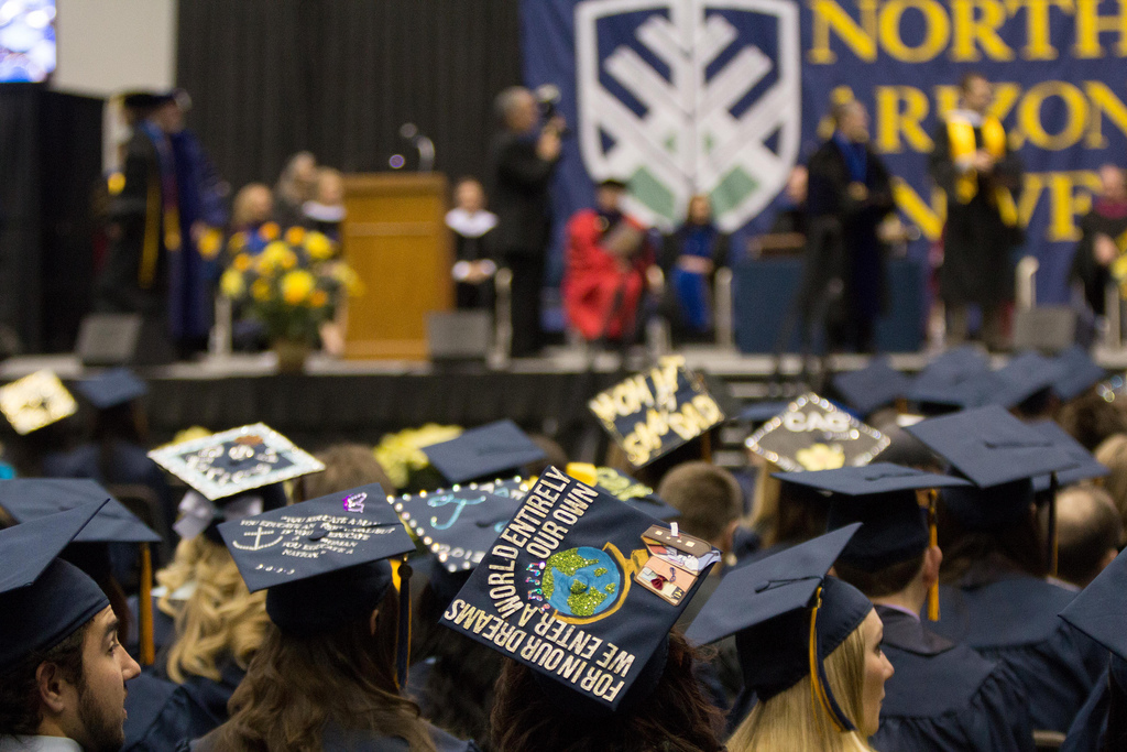 Decorated graduation caps in the skydome