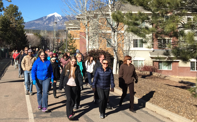 NAU President Cheng leading the pack at the wellness walk