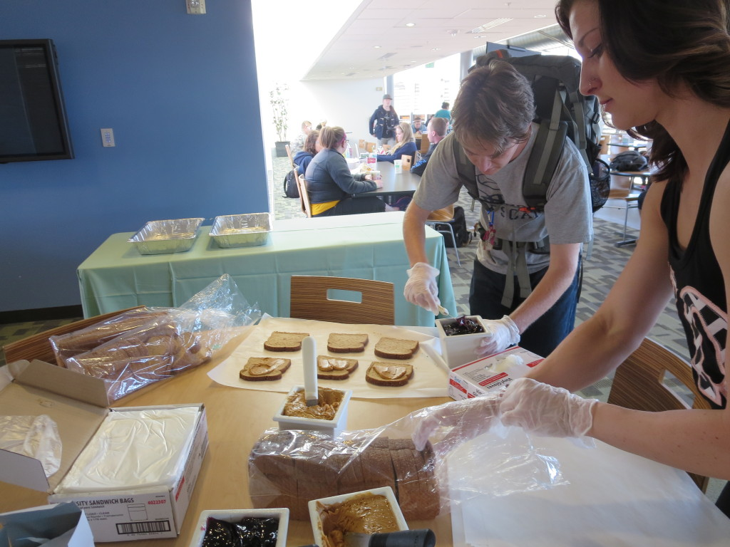 Students in the union make PB&Js