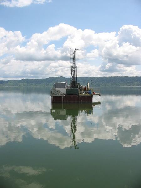 Samples are taken on Lake Bosumtwi