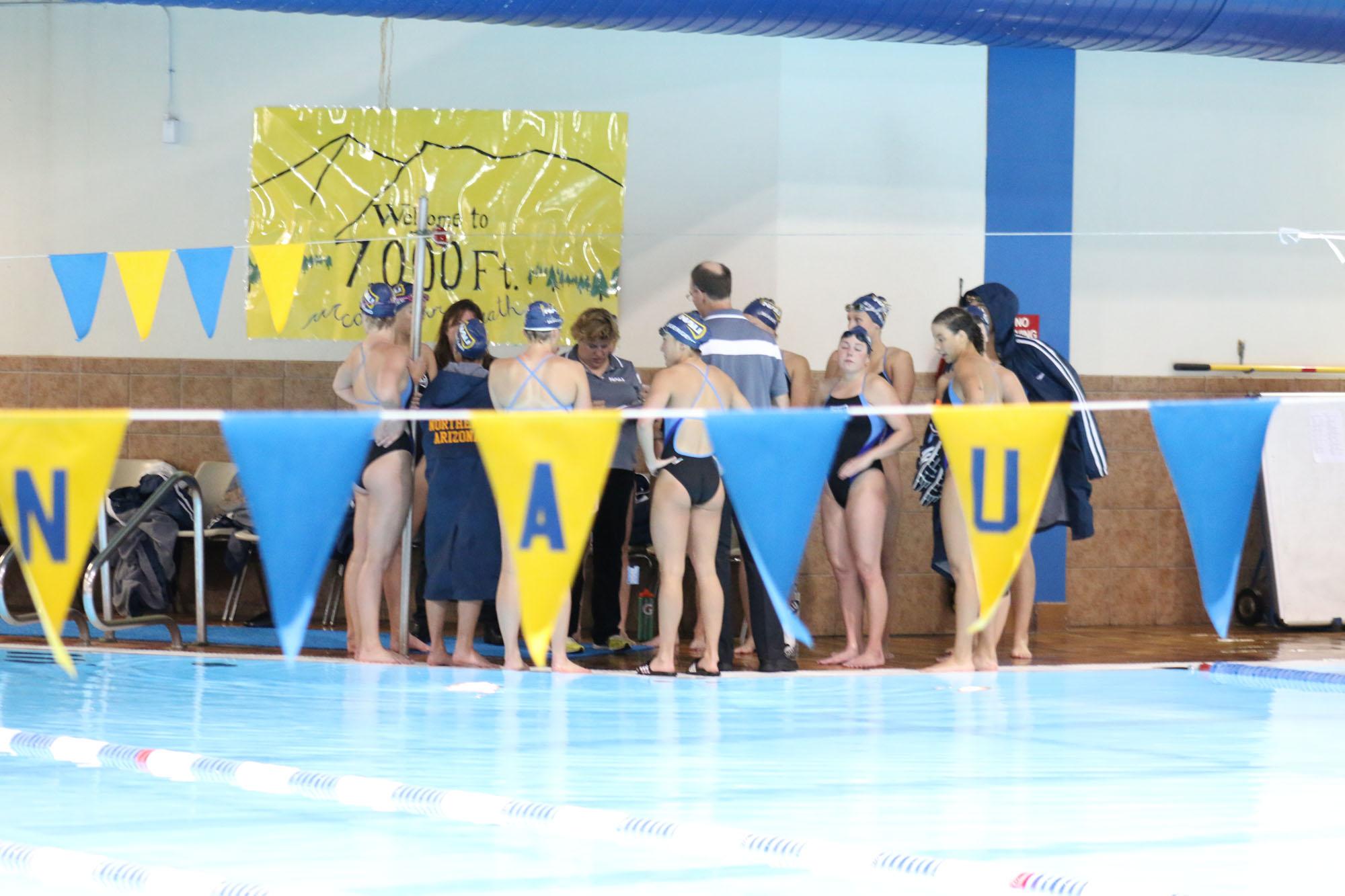 NAU Swim and Dive at the pool