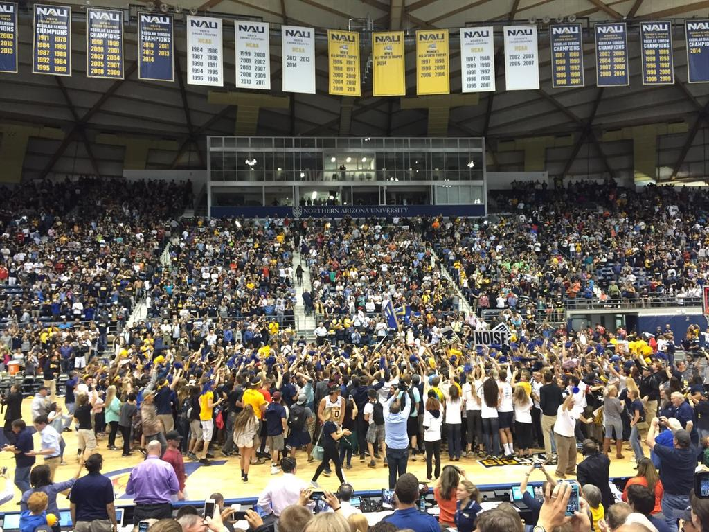 NAU students and athletes celebrating