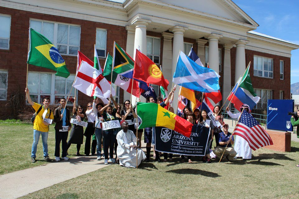 International Week students and flags at Blome