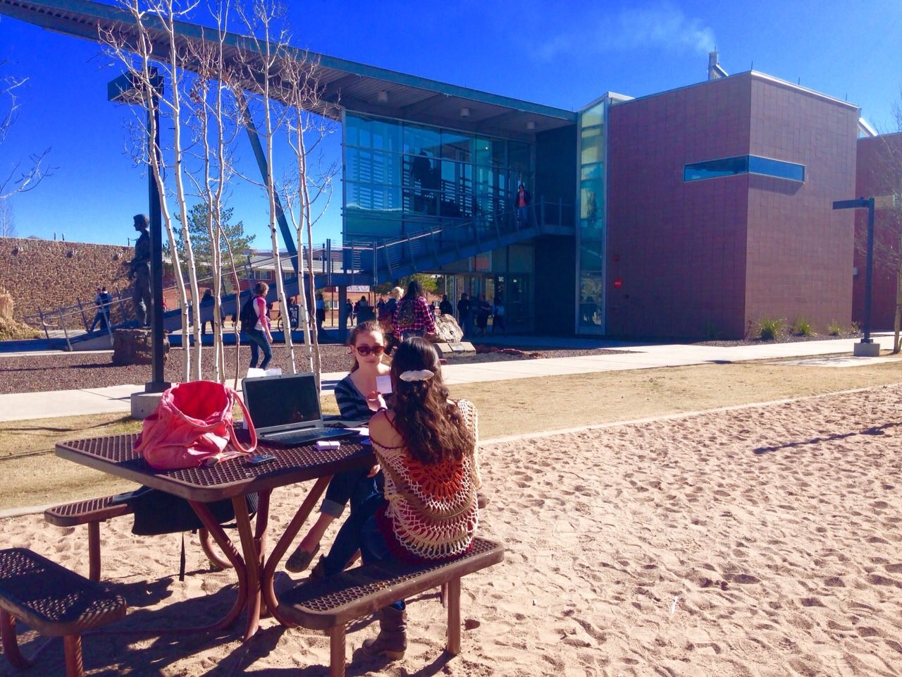 Students study outside the Union