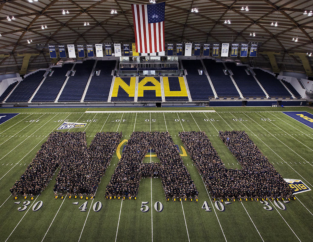 NAU letters on the field