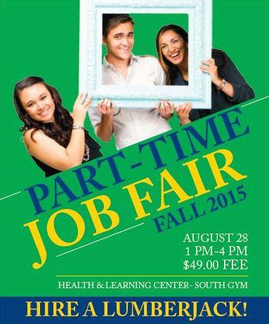 Part-Time Job Fair Fall 2015 poster