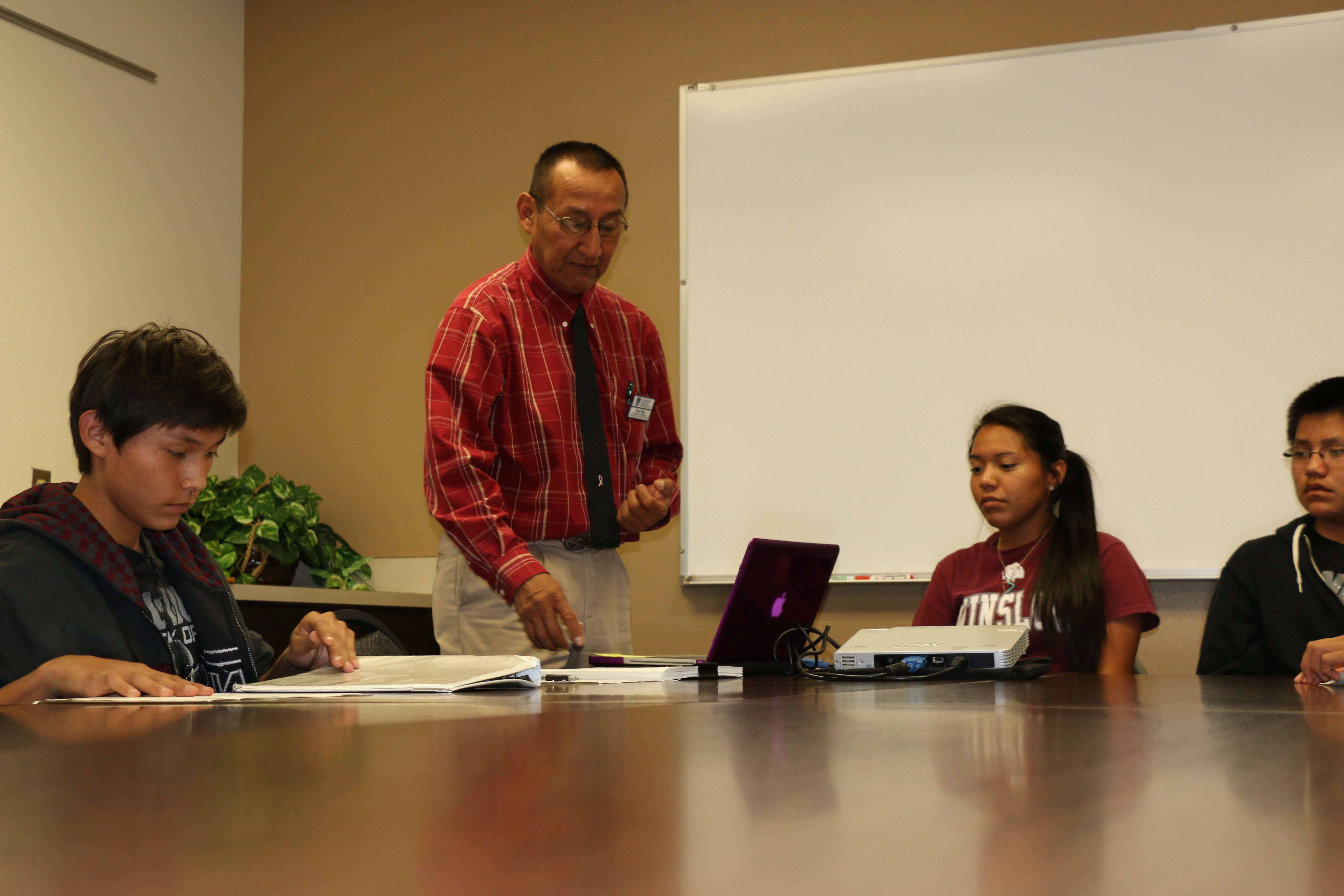 Eugene Begay with first-generation students
