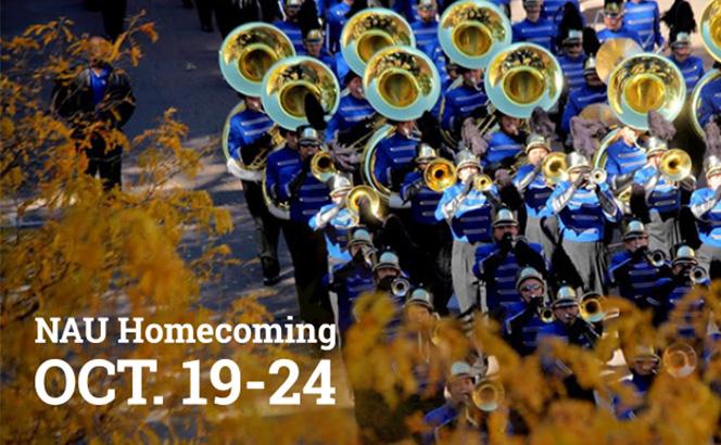 NAU Homecoming OCT. 19-24 marching band graphic