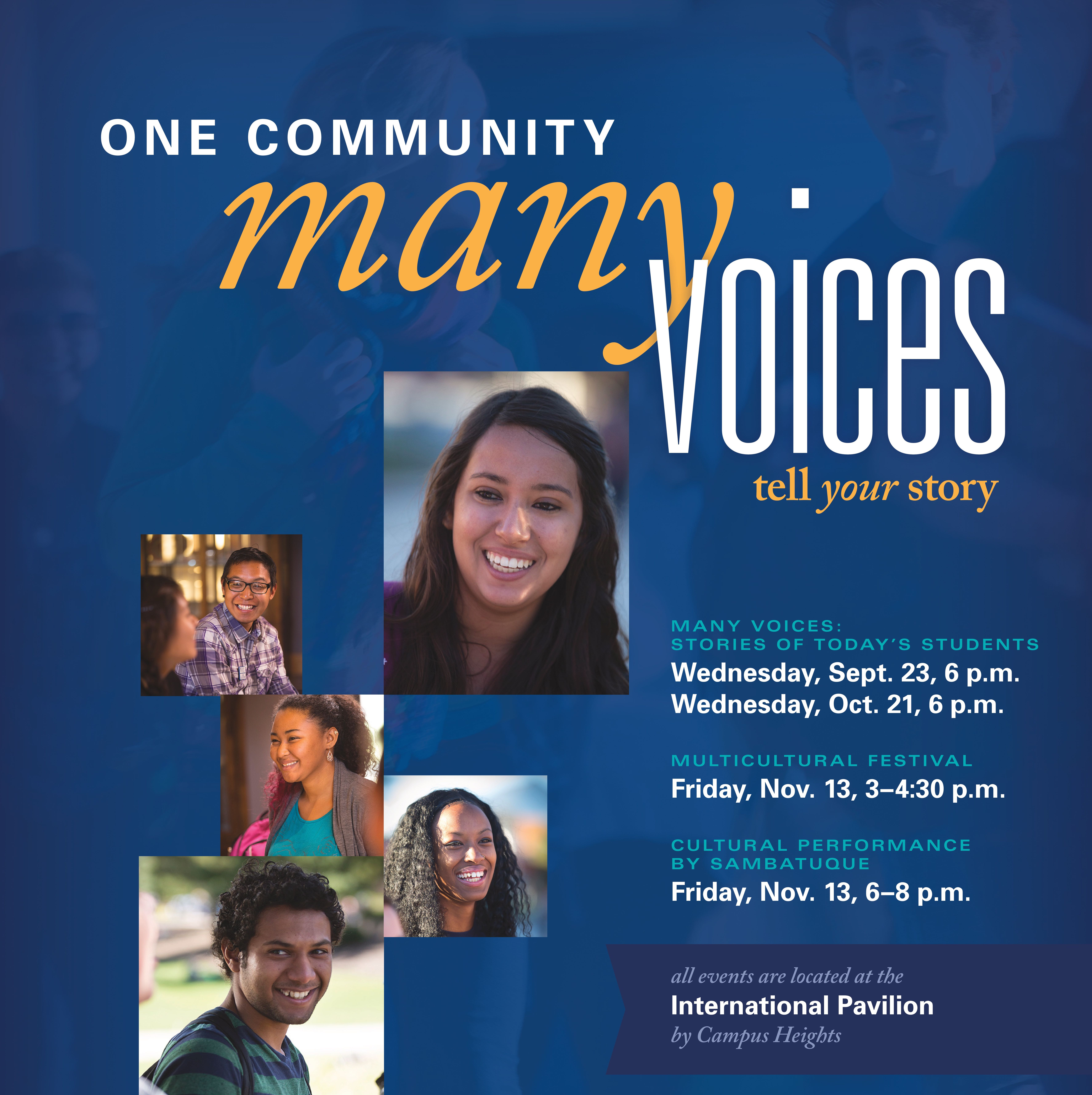 One Community many voices tell your story poster