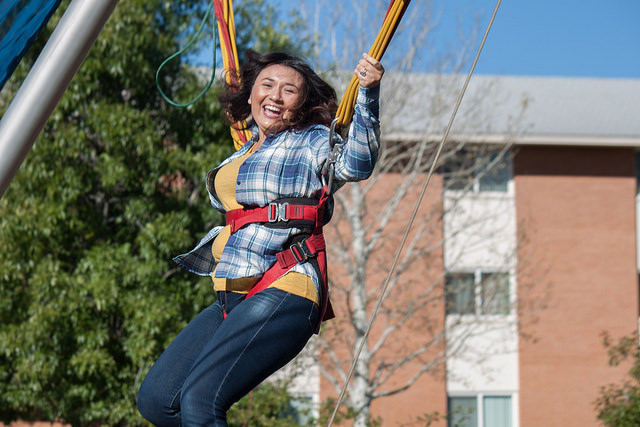 Female student on bungee