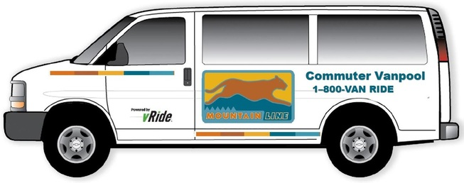 Commuter Vanpool Mountain Line vRide bus