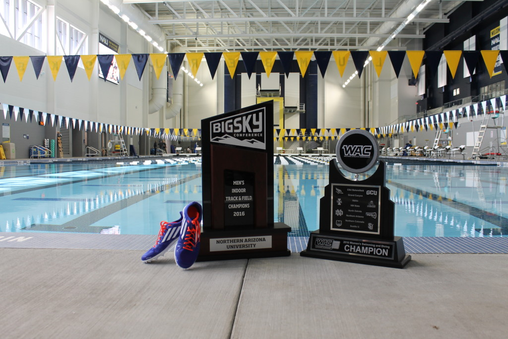 Trophies at the pool