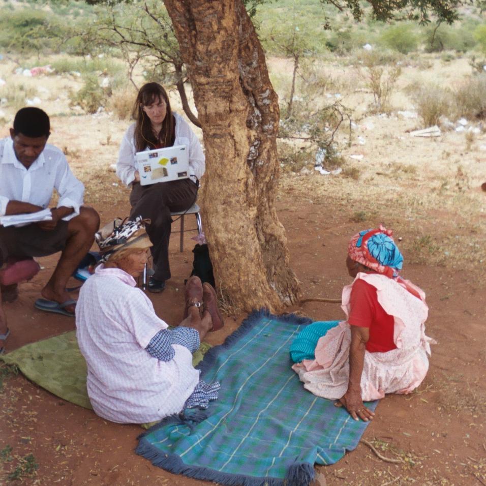 Bonnie Sands outdoors documenting language