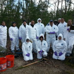 Forensic archaeologists in the woods