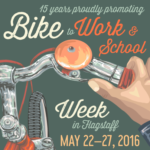 15 years proudly promoting Bike to Work & School Week in Flagstaff May 22-27, 2016 graphic