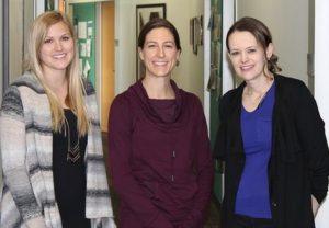 OT students Lyndsey Helburg, Jill Johnston, and Tiffany Fought