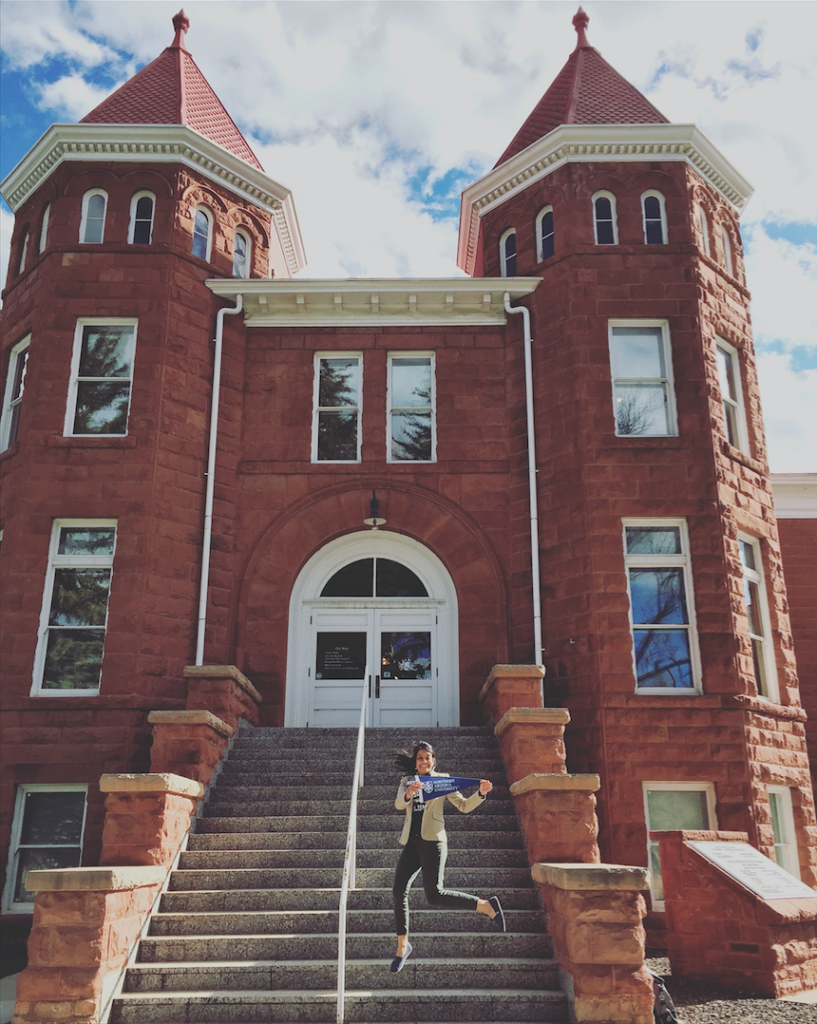 Danielle Donaldson on the steps of Old Main