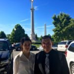Angeleena Corrente and Timothy Wiley pose in Washington D.C.