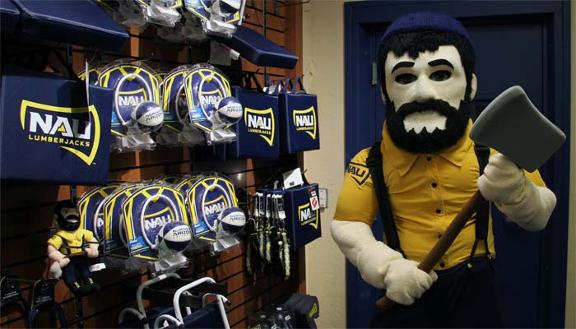 Louie the Lumberjack with NAU gear hanging on wall
