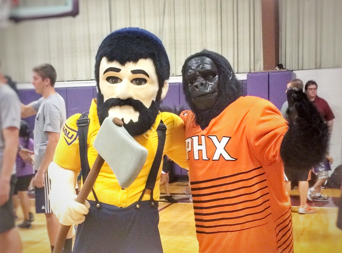 NAU Louie the Lumberjack with Suns Gorilla