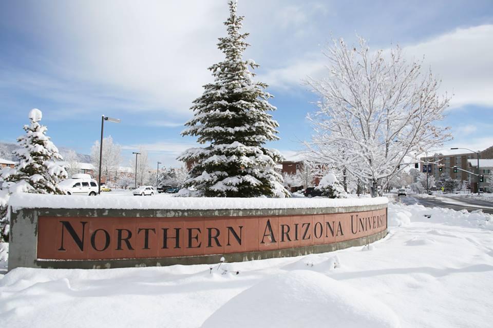 NAU sign snow