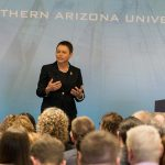 President Rita Cheng at the NAU campus forum March 29, 2017