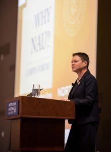 NAU President Rita Cheng at campus forum
