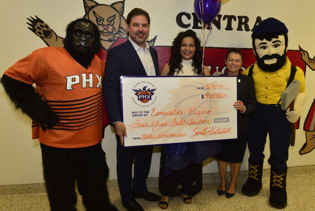 Phoenix Suns Charities Award Full-Tuition Scholarship to Esmeralda Regino 5-8-17