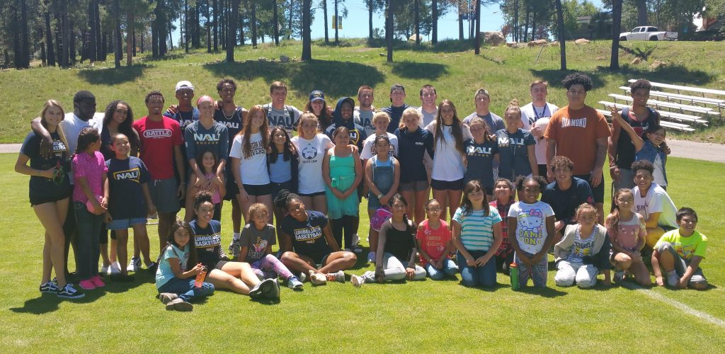 NAU athletes with Killip Elementary students