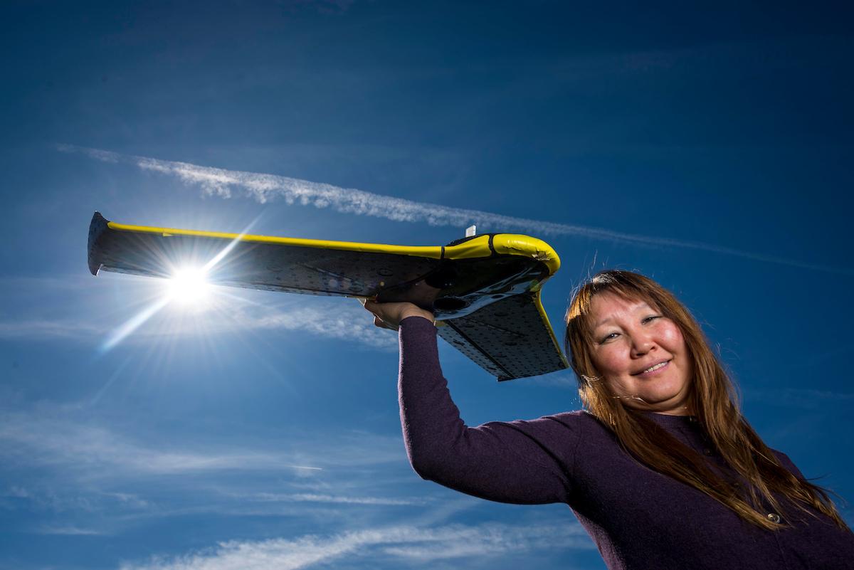 Professor holds drone