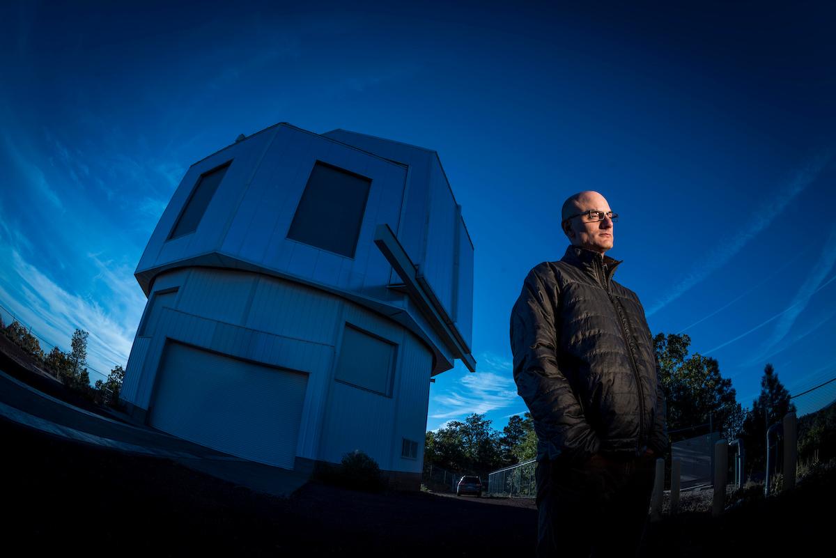 David Trilling outside telescope