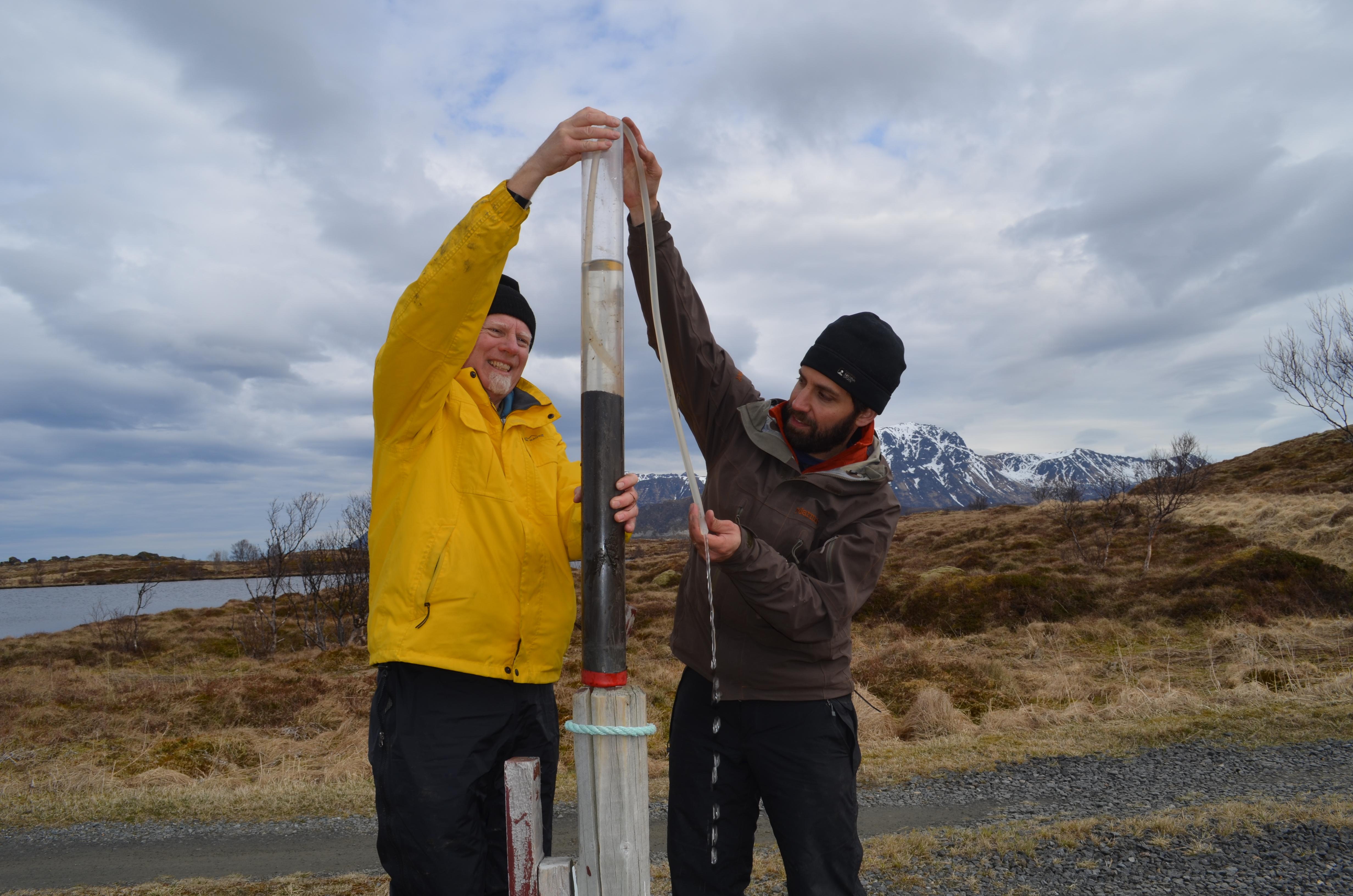 Scott Anderson studying Norway lake mud