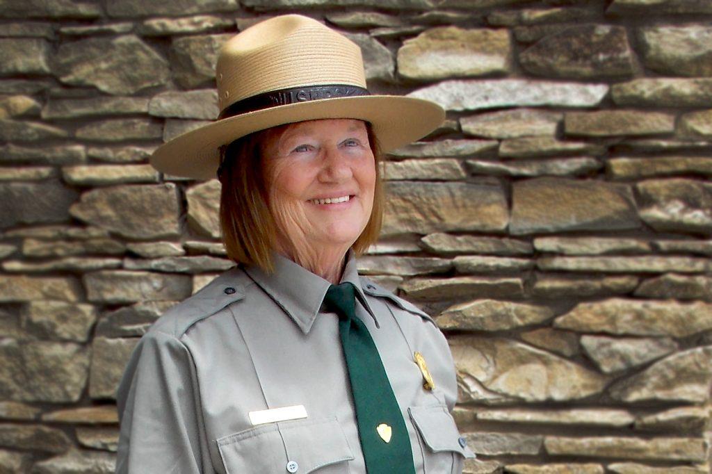 Winkler poses in her National Park Service employee uniform