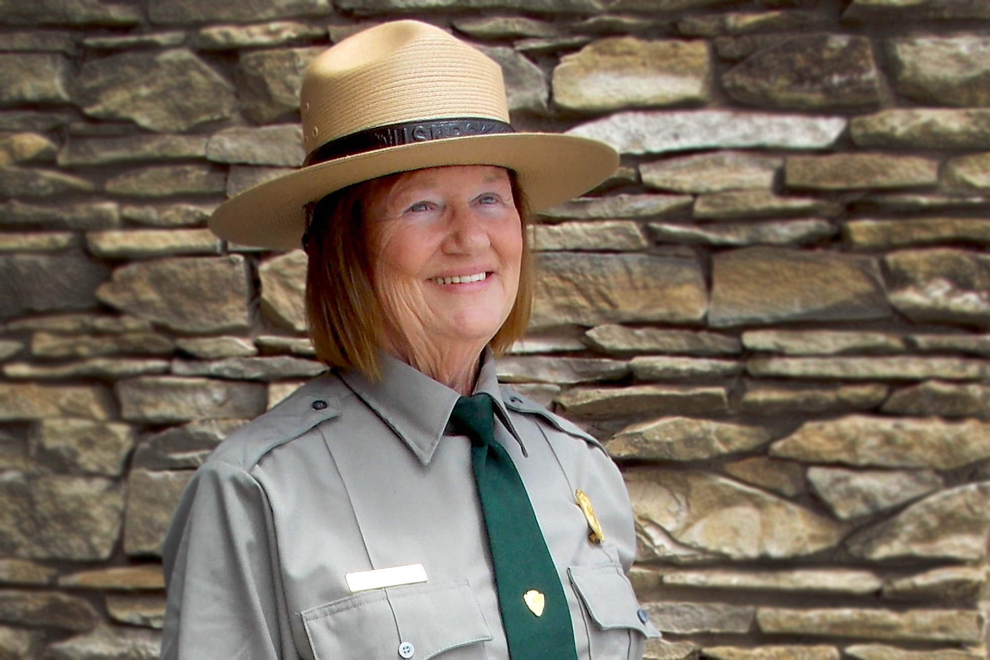 Winkler poses in her National Park Service employee uniform