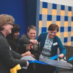 President Rita Chang and COE faculty cut the ribbon to the new classroom